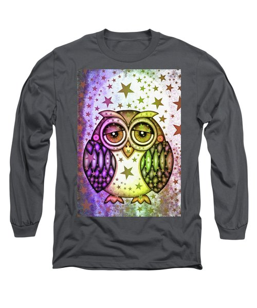 Long Sleeve T-Shirt featuring the photograph Sleepy Owl With Stars by Matthias Hauser