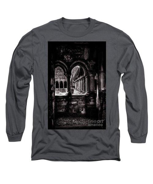 Long Sleeve T-Shirt featuring the photograph Sligo Abbey Interior Bw by RicardMN Photography