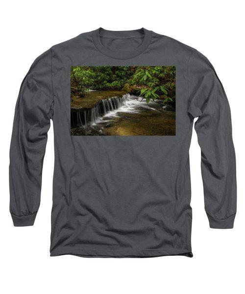 Small Cascade On Pounder Branch. Long Sleeve T-Shirt by Ulrich Burkhalter