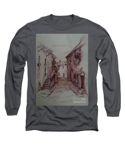 Small Town Drawing Long Sleeve T-Shirt