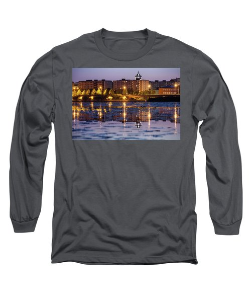 Small Town Skyline Long Sleeve T-Shirt by Teemu Tretjakov