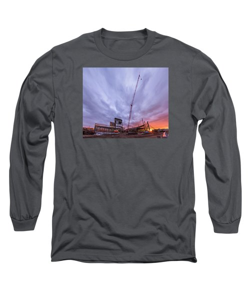 Smart Financial Centre Construction Sunset Sugar Land Texas 10 26 2015 Long Sleeve T-Shirt by Micah Goff