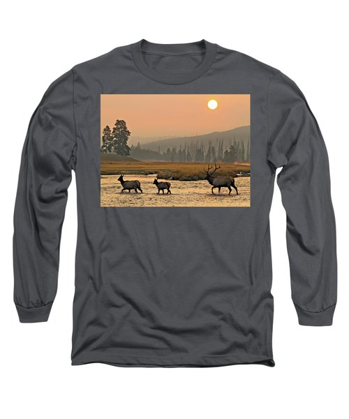 Smokey Elk Crossing Long Sleeve T-Shirt