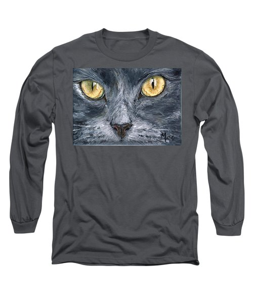 Long Sleeve T-Shirt featuring the painting Smokey by Mary-Lee Sanders