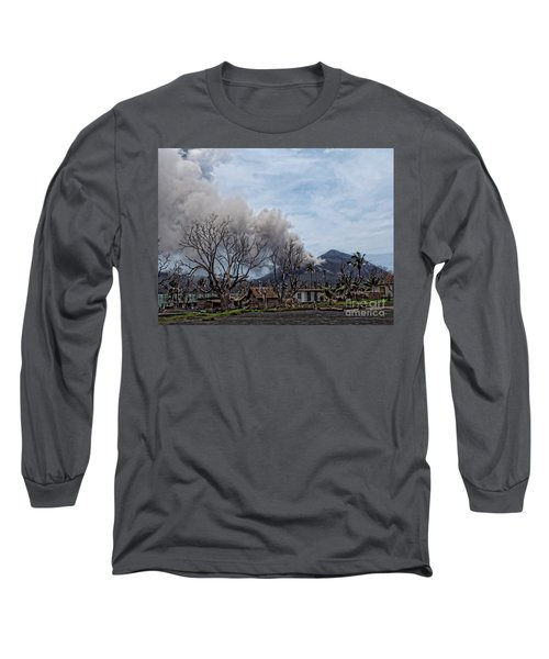 Long Sleeve T-Shirt featuring the photograph Smoking Volcano by Trena Mara