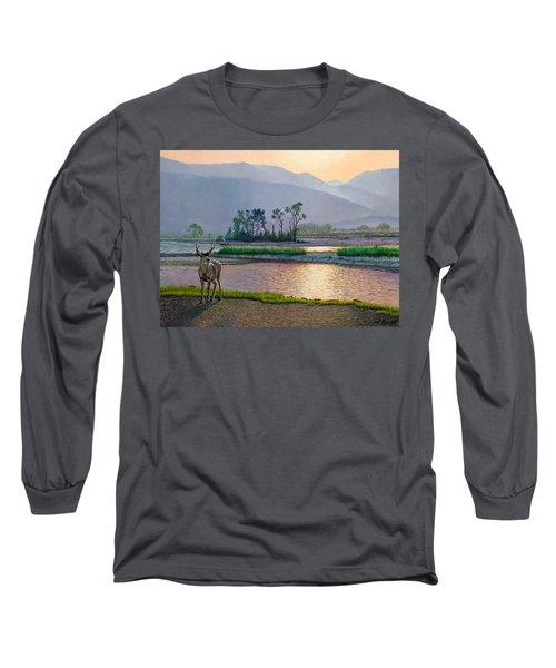 Smoky Morning Glitter Long Sleeve T-Shirt by Paul Krapf