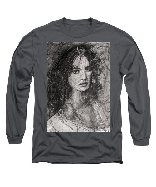 Long Sleeve T-Shirt featuring the painting Smoky Noir... Ode To Paolo Roversi And Natalia Vodianova  by Jarko Aka Lui Grande