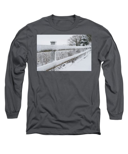 Snow Covered Fence Long Sleeve T-Shirt by Helen Northcott