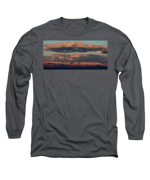 Long Sleeve T-Shirt featuring the photograph Snow Covered Red Rock Panorama by Ron Chilston