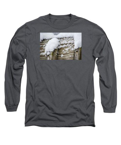 Long Sleeve T-Shirt featuring the photograph Snow Fluff And Woodgrain by Deborah Smolinske