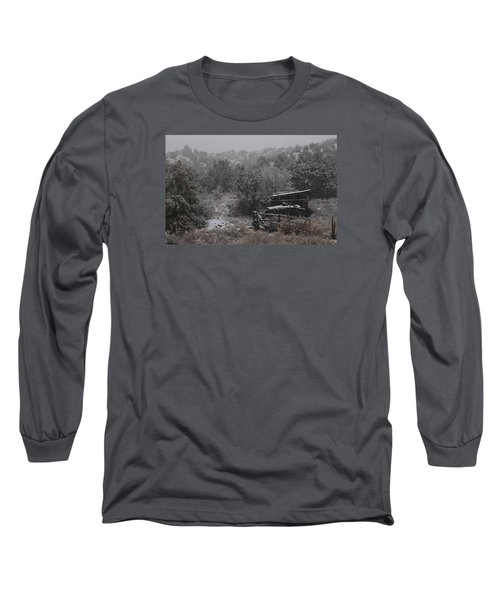 Snow In The Old Santa Fe Corral Long Sleeve T-Shirt by Christopher Kirby