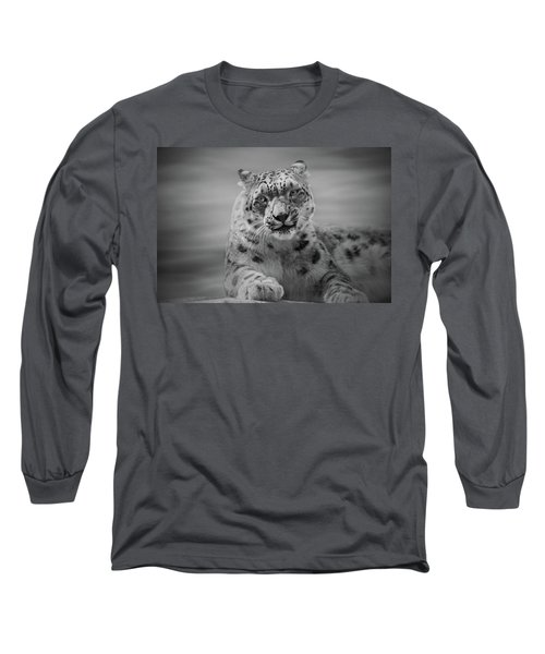 Long Sleeve T-Shirt featuring the photograph Snow Leopard  Bw by Sandy Keeton