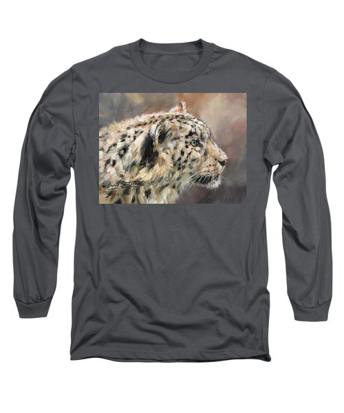 Long Sleeve T-Shirt featuring the painting Snow Leopard Study by David Stribbling