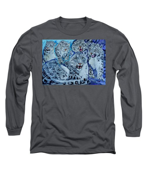 Snow Leopards Long Sleeve T-Shirt by Raymond Perez