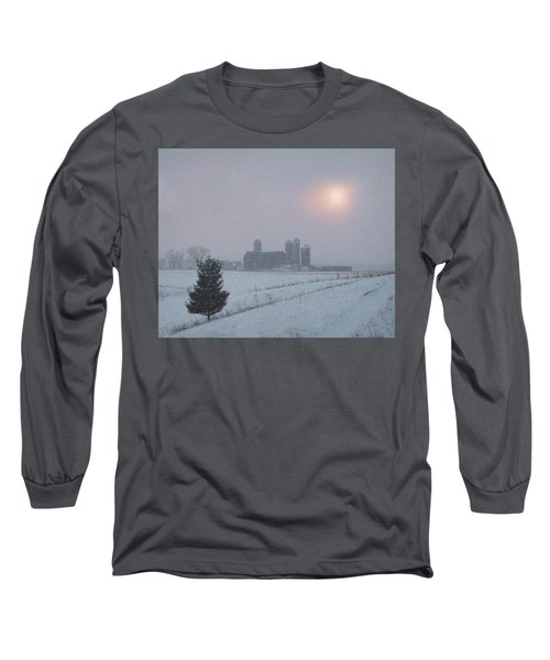 Long Sleeve T-Shirt featuring the photograph Snow Muted Sunset by Judy Johnson