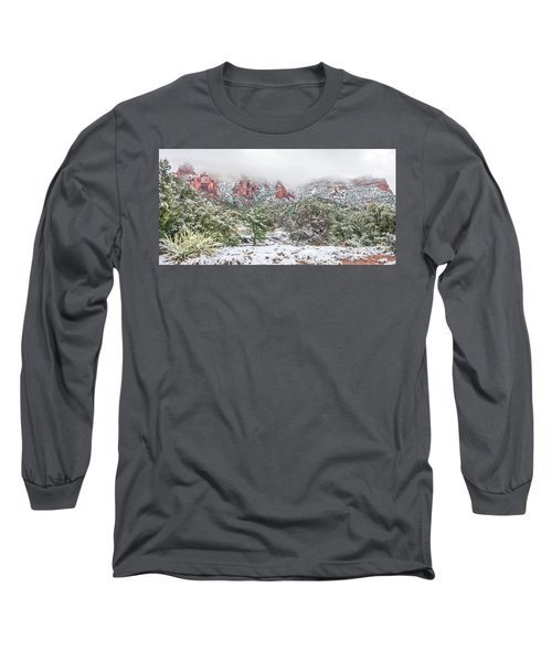 Snow On Red Rock Long Sleeve T-Shirt