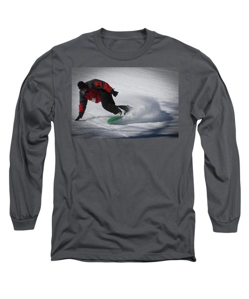 Long Sleeve T-Shirt featuring the photograph Snowboarder On Mccauley by David Patterson