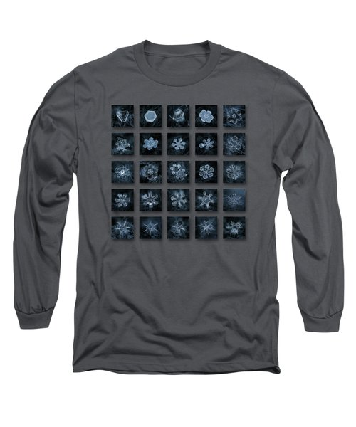 Long Sleeve T-Shirt featuring the photograph Snowflake Collage - Season 2013 Dark Crystals by Alexey Kljatov