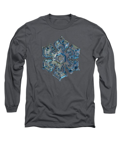 Long Sleeve T-Shirt featuring the photograph Snowflake Photo - Silver Foil by Alexey Kljatov