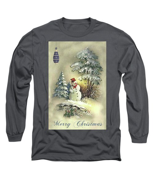 Long Sleeve T-Shirt featuring the digital art Snowman Christmas Card by Greg Sharpe