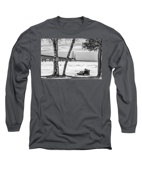 Long Sleeve T-Shirt featuring the photograph Snowmobile Michigan Black And White  by John McGraw