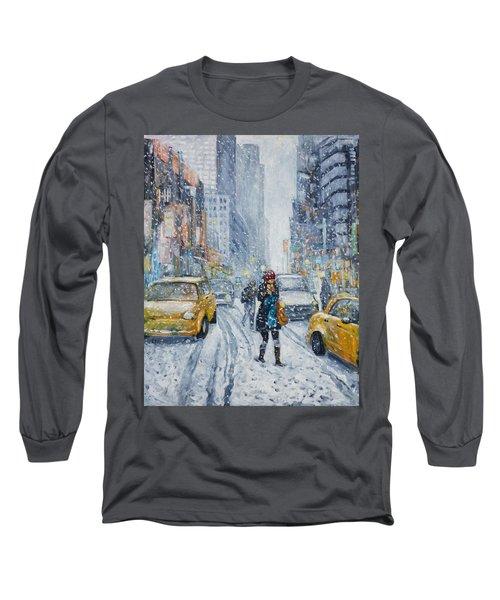 Urban Snowstorm Long Sleeve T-Shirt