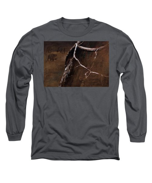 Snowy Branch With Wild Boars Long Sleeve T-Shirt