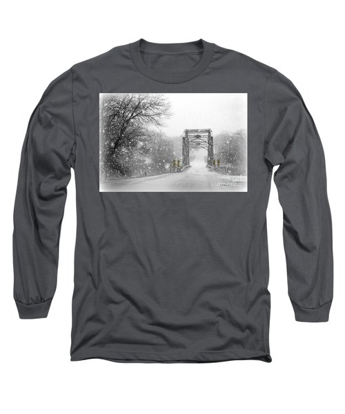 Snowy Day And One Lane Bridge Long Sleeve T-Shirt by Kathy M Krause