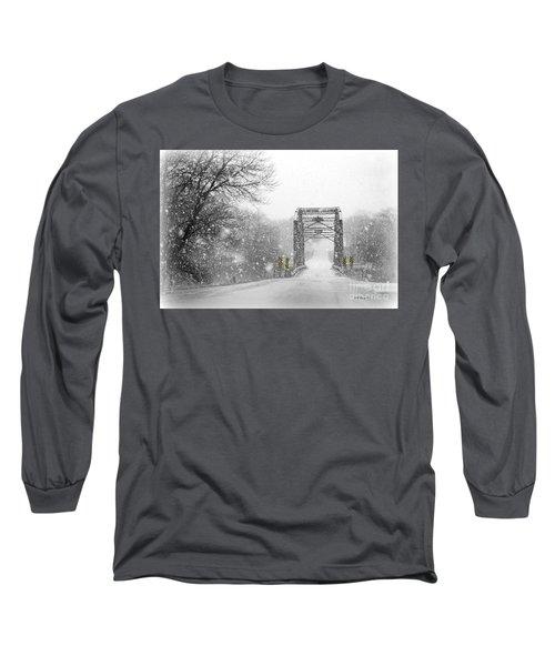 Snowy Day And One Lane Bridge Long Sleeve T-Shirt