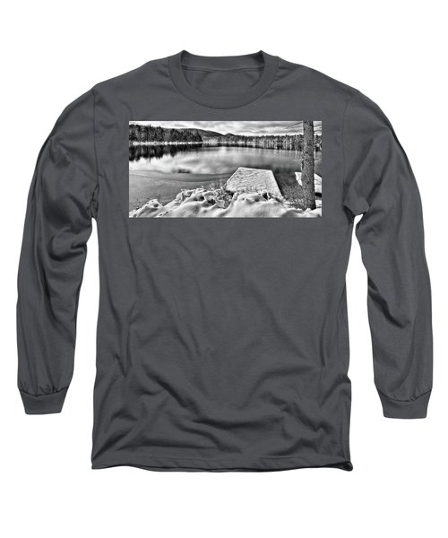 Long Sleeve T-Shirt featuring the photograph Snowy Dock by David Patterson