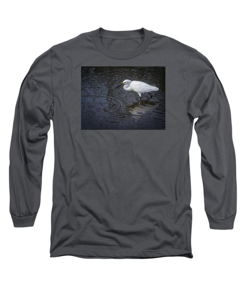 Snowy Egret Hunting Long Sleeve T-Shirt