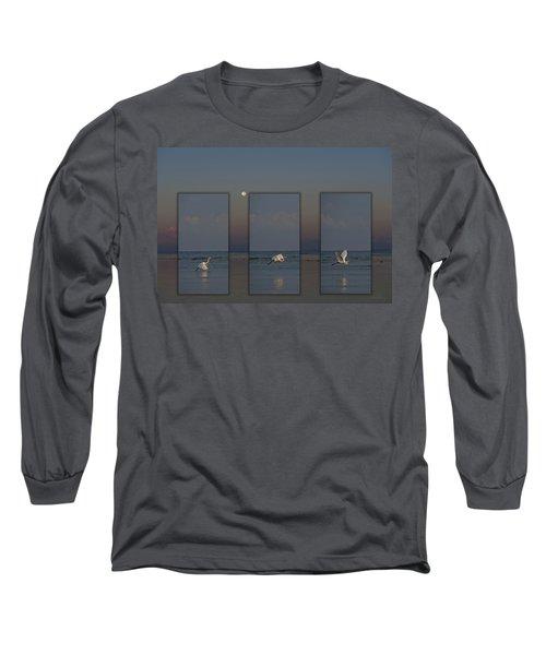 Snowy Egret Moon Long Sleeve T-Shirt