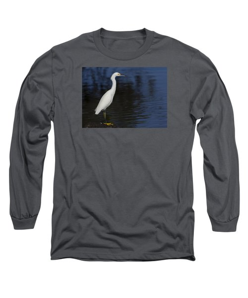Snowy Egret Perched On A Rock Long Sleeve T-Shirt