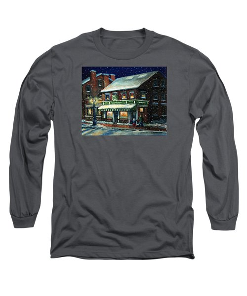 Snowy Evening In Gloucester, Ma Long Sleeve T-Shirt