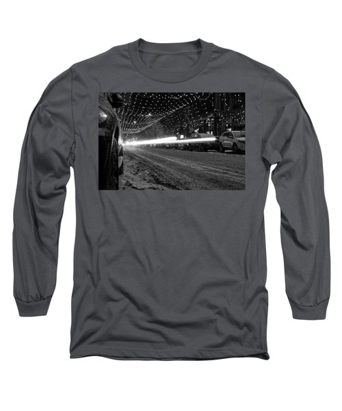 Snowy Night Light Trails Long Sleeve T-Shirt