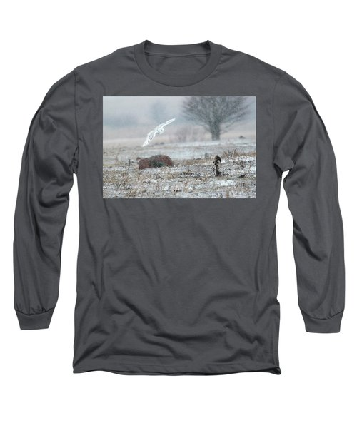 Snowy Owl In Flight 3 Long Sleeve T-Shirt by Gary Hall
