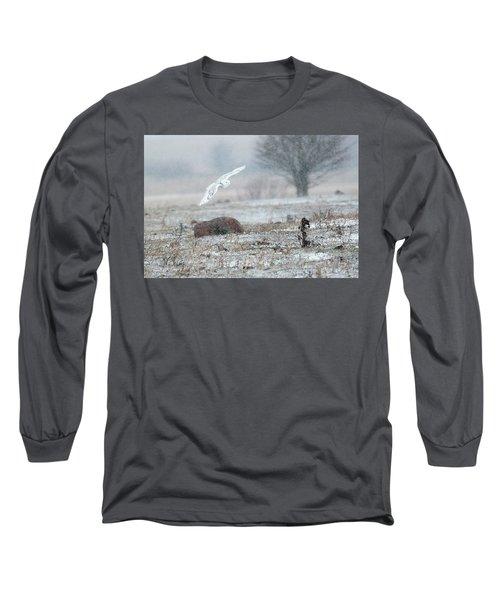 Snowy Owl In Flight 3 Long Sleeve T-Shirt