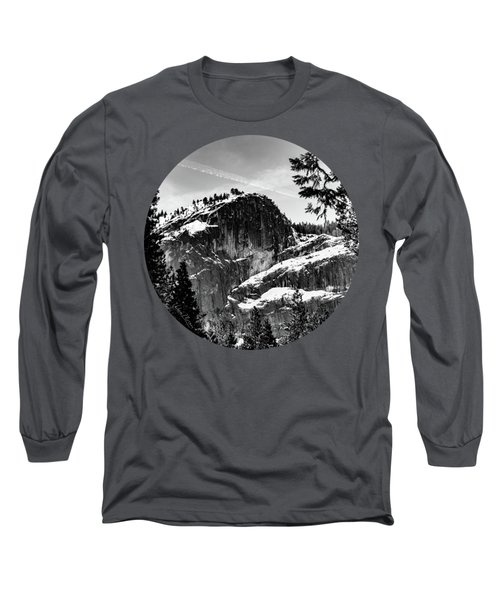 Snowy Sentinel, Black And White Long Sleeve T-Shirt