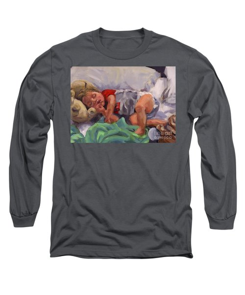 Long Sleeve T-Shirt featuring the painting Snug As A Bug by Nancy Parsons