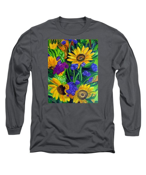 Sunflowers -soaking Up Sunshine Long Sleeve T-Shirt by Julie Brugh Riffey