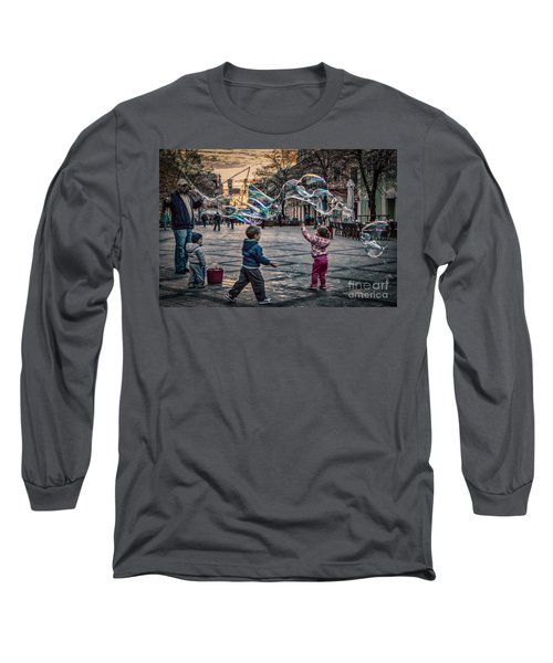 Long Sleeve T-Shirt featuring the photograph Soap Bubbles Evening Play by Jivko Nakev
