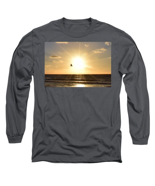 Soaring Seagull Sunset Over Imperial Beach Long Sleeve T-Shirt