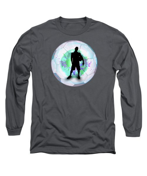 Soccer Player Posing With Ball Soccer Background Long Sleeve T-Shirt by Elaine Plesser