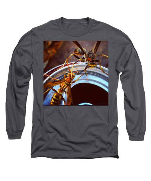 Soda Pop Bandits, Two Wasps On A Pop Can  Long Sleeve T-Shirt