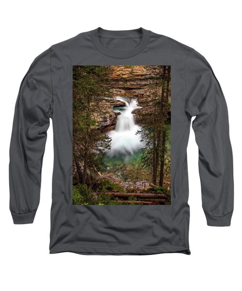 Long Sleeve T-Shirt featuring the photograph Soft Smooth Waterfall by Darcy Michaelchuk