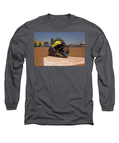 Softball Catcher Helmet Long Sleeve T-Shirt