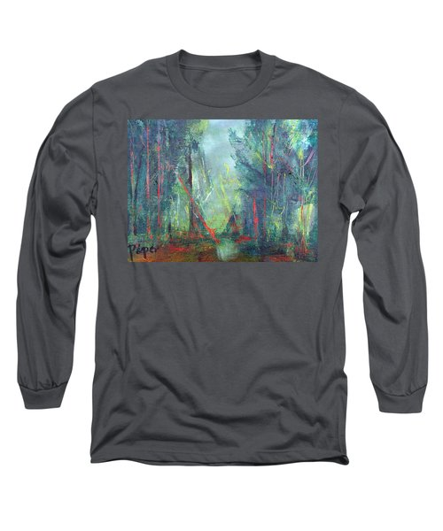 Long Sleeve T-Shirt featuring the painting Softlit Forest by Betty Pieper