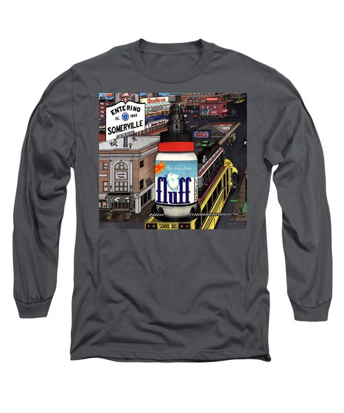 Long Sleeve T-Shirt featuring the drawing A Strange Day In Somerville  by Richie Montgomery