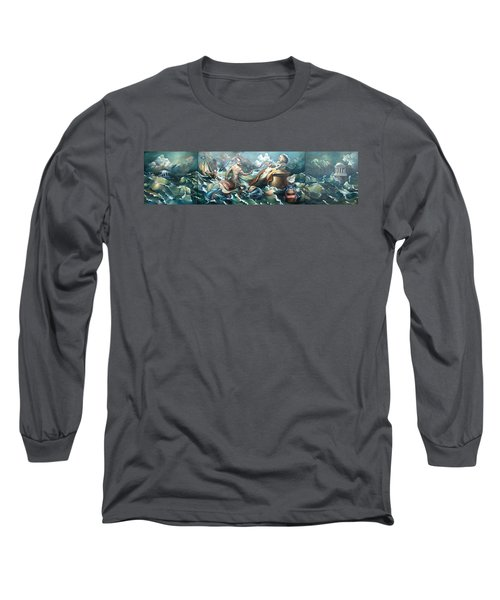 Something Fowl Afloat 2b Long Sleeve T-Shirt by Patrick Anthony Pierson