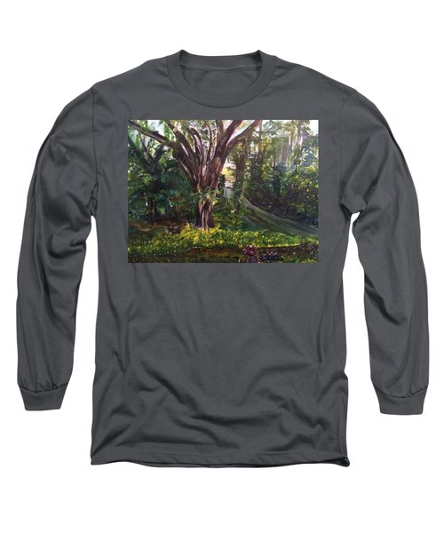 Long Sleeve T-Shirt featuring the painting Somewhere In The Park by Belinda Low